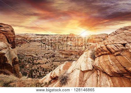 beautiful sunset on rocky plateau Grand Staircase Utah
