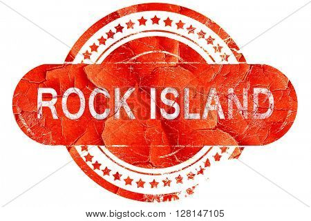 rock island, vintage old stamp with rough lines and edges