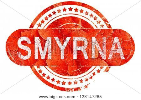 smyrna, vintage old stamp with rough lines and edges
