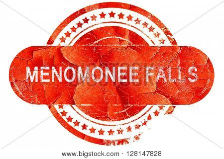 menomonee falls, vintage old stamp with rough lines and edges