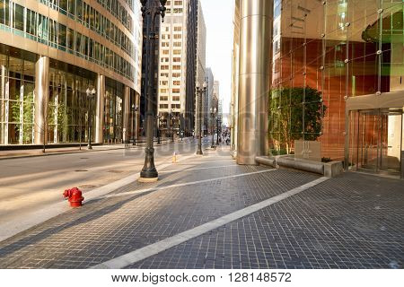 CHICAGO, IL - CIRCA APRIL, 2016: streets of Chicago at daytime. Chicago, colloquially known as the