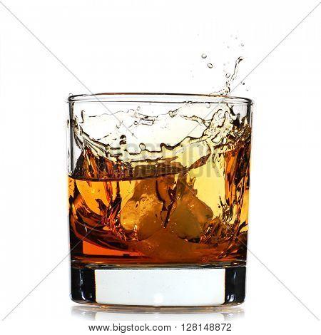 Whiskey splash studio isolated on white background