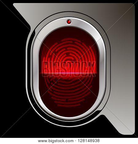 Black Fingerprint scanner with reflection and indicator