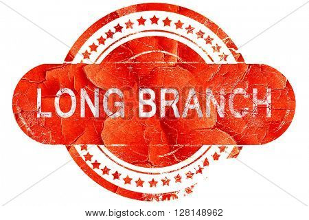 long branch, vintage old stamp with rough lines and edges