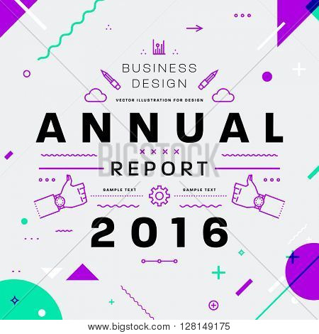 Annual Report Typographic Label Concept. Thin Line Flat Style for Business Logo, Posters, Placards, Presentations and Websites Design