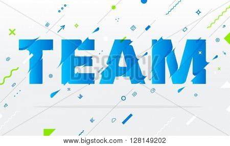 Abstract Business Typographic Vector Illustration. Team Concept. Liquid Letters.