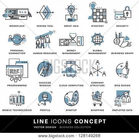 Thin Line Icons Set. Business Elements for Websites, Banners, Infographic Illustrations. Simple Linear Pictograms Collection. Logo Concepts Pack for Trendy Designs. Flat Pictogram Pack