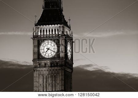Big Ben closeup in London in black and white