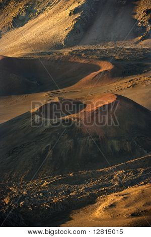Aerial of dormant volcano in Haleakala National Park, Maui, Hawaii.