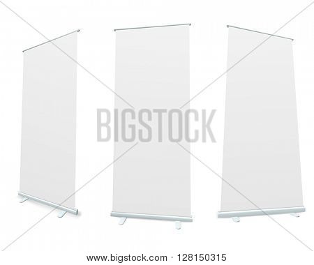 Roll-up blank white display realistic 3D illustration.