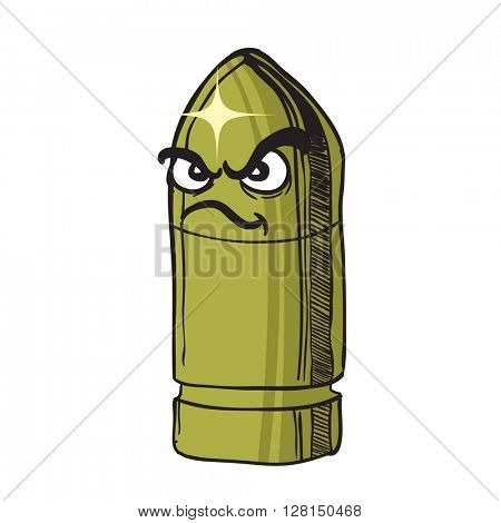 angry bullet cartoon illustration isolated on white