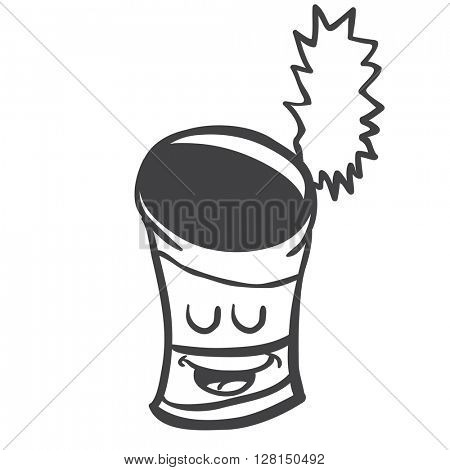 black and white happy empty can cartoon illustration