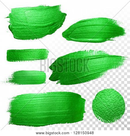 Vector green watercolor glitter brush stroke and blobs set. Abstract polish splash trace. Green oil paint smear dab line on transparent background