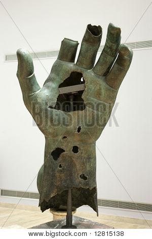 Colossal hand of Constantine in Capitoline Museum, Rome, Italy.