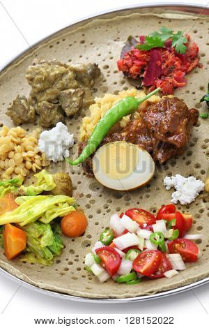 ethiopian cuisine isolated on white background