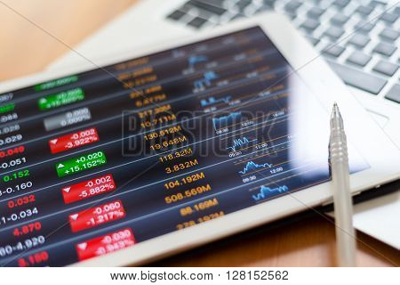Digital stock market listing on a tablet screen