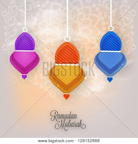 Elegant greeting card design with hanging colourful Lamps on floral decorated background for Islamic Holy Month, Ramadan Mubarak celebration.