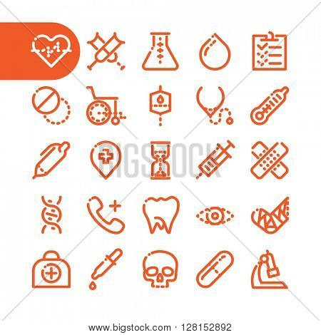 Healthcare and medical icons. Fat Line Icon set for web and mobile. Modern minimalistic flat design elements of Healthcare and medical equipment. Pharmacy and health.