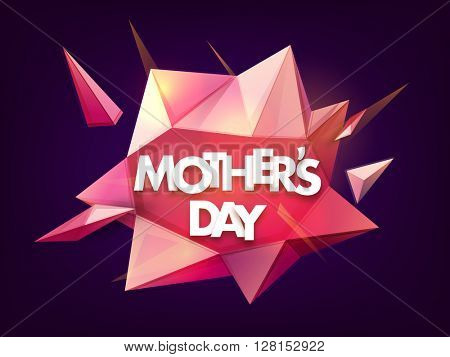 Stylish text Mother's Day on creative glossy abstract design, Can be used as poster, banner or flyer design.