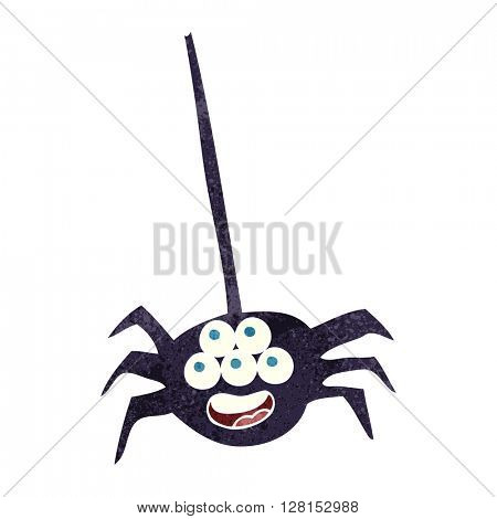 freehand retro cartoon halloween spider