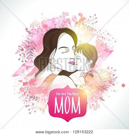 Illustration of a Young Mother with her cute Baby on stylish abstract background for Happy Mother's Day celebration.