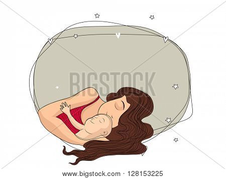 Young Mother laying with her cute Baby in a blank frame for Happy Mother's Day and other occasion celebration.