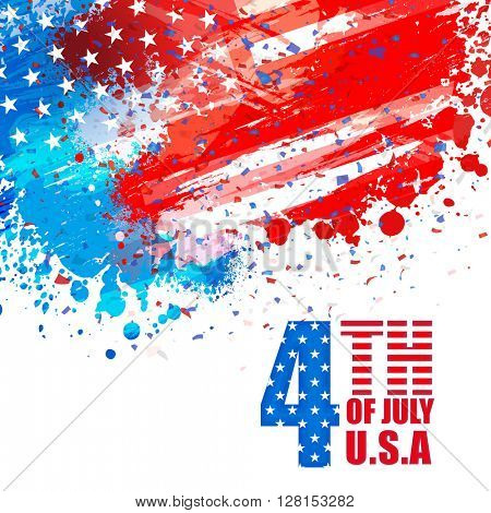 Creative greeting card decorated with American Flag colors abstract design for 4th of July, Independence Day celebration.