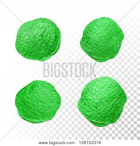 Vector green watercolor glitter brush blob. Abstract polish splash circle. Emerald oil paint polka dot imprints on transparent background