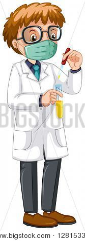 Male scientist doing experiment illustration
