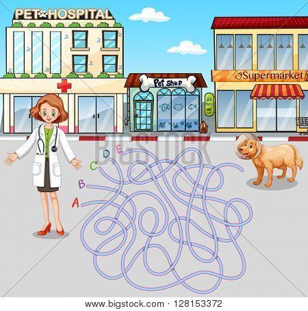 Game template with vet and pet at hospital illustration