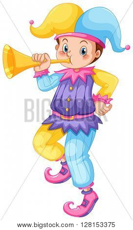 Jester blowing golden trumpet illustration