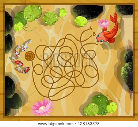 Game template with two fish in the pond illustration