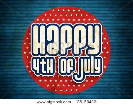 Vintage style text Happy 4th of July on stars decorated red background, Can be used as sticker, tag or label design for American Independence Day celebration.