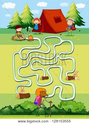 Game template with children camping in the field illustration