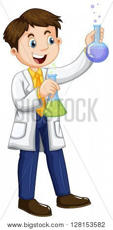 Male scientist holding beakers illustration