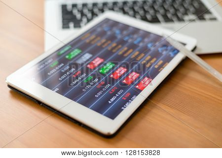 Digital stock market chart on a tablet screen