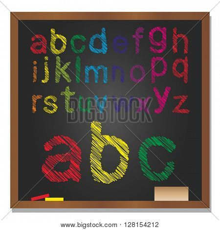 Vector 3D illustration of concept or conceptual set or collection of colorful handwritten, sketch or scribble font, black school blackboard background