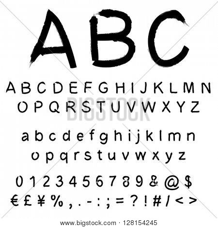 Vector concept or conceptual set or collection of black handwritten, sketch or scribble paint font isolated on white background