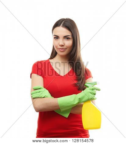 Young woman holding detergent spray, isolated on white