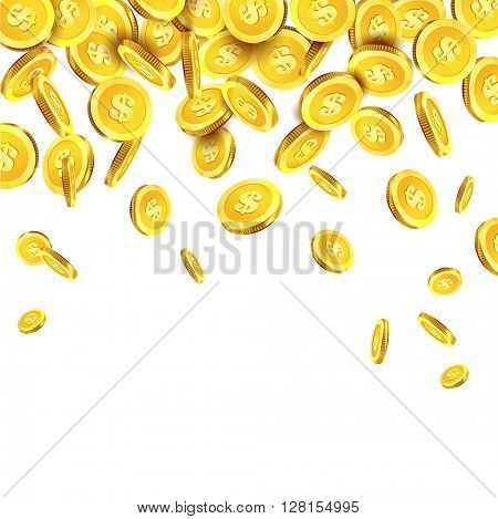 Vector Illustration of falling golden coins.