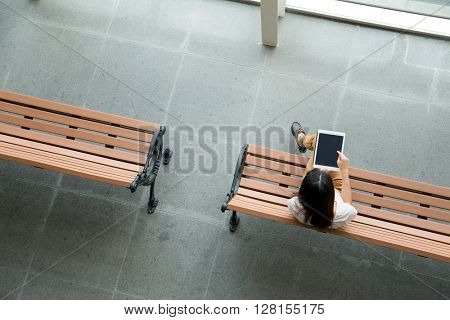 Top view of woman use of digital tablet pc