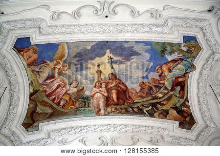 BENEDIKTBEUERN, GERMANY - OCTOBER 19: Baptism of the Lord, beautiful religious fresco in Benediktbeuern, Germany on October 19, 2014.
