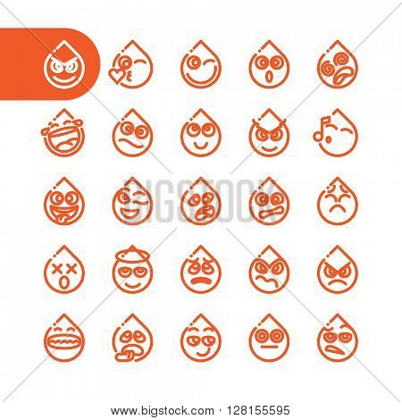 Fat Line Icon Set of tear drop emoticons for web and mobile. Modern minimalistic flat design elements of water drib emoji isolated on white background, vector illustration.