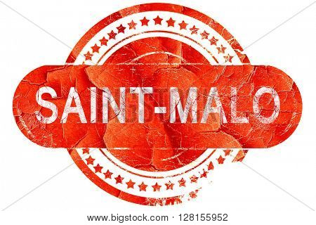 saint-malo, vintage old stamp with rough lines and edges