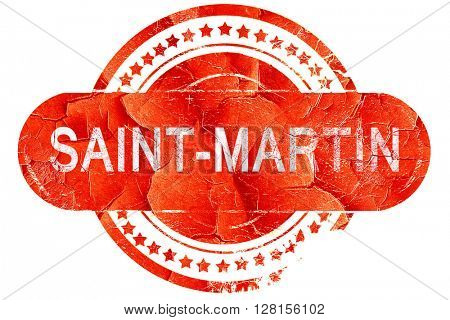 saint-martin, vintage old stamp with rough lines and edges