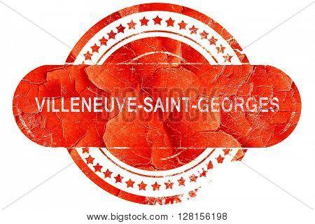 villeneuve-saint-georges, vintage old stamp with rough lines and
