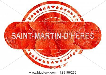 saint-martin-d'heres, vintage old stamp with rough lines and edg