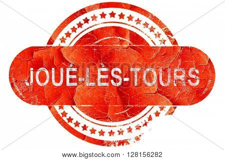 joue-les-tours, vintage old stamp with rough lines and edges
