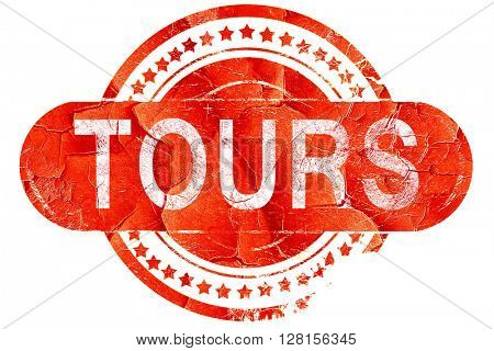 tours, vintage old stamp with rough lines and edges