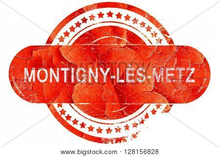 montigny-les-metz road sign, vintage green with clouds backgrou,